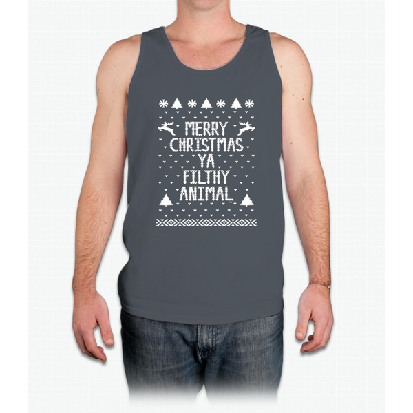 Christmas T-shirt - Merry Christmas Ya Filthy Animal - Mens Tank Top