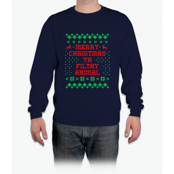 Funny Christmas T-shirt Merry Christmas Ya Filthy Animal Tee Long Sleeve T-Shirt