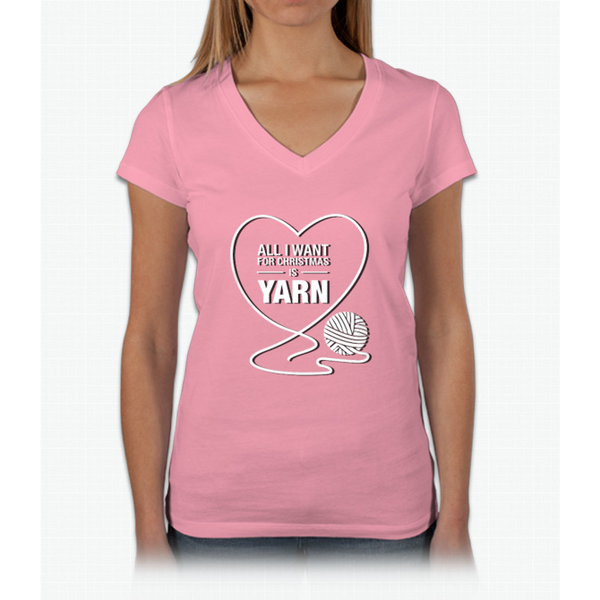 All I Want For Christmas Is Yarn Womens V-Neck T-Shirt