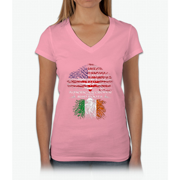American Grown With Irish Roots Womens V-Neck T-Shirt