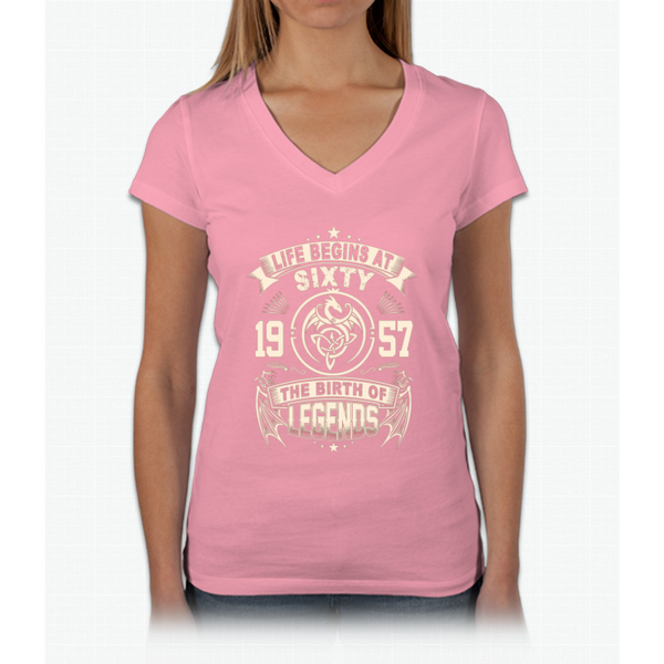 60th Birthday Gifts - 1957 The Birth Of Legends Womens V-Neck T-Shirt