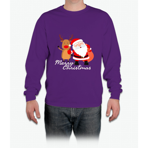 Merry Christmas Reindeer Santa Long Sleeve T-Shirt