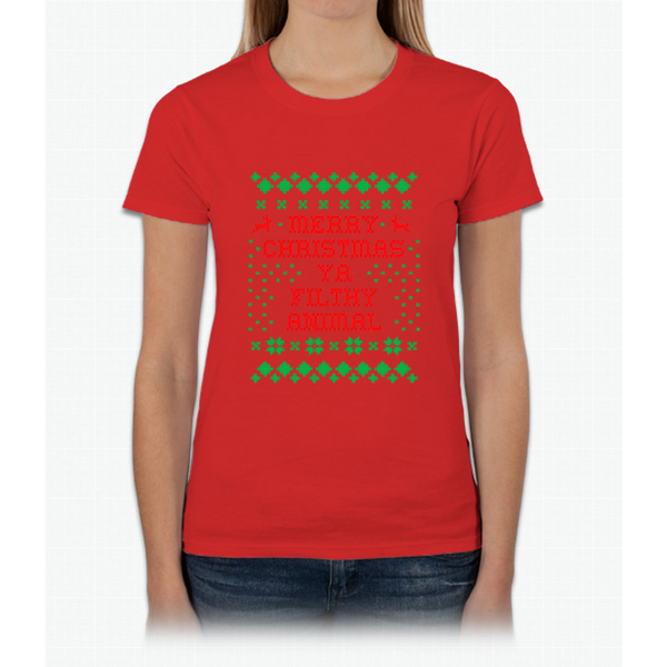 Funny Christmas T-shirt Merry Christmas Ya Filthy Animal Tee Womens T-Shirt