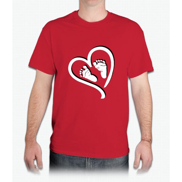 Baby Heart Feet Red Maternity Maternity Cute & Funny - Mens T-Shirt