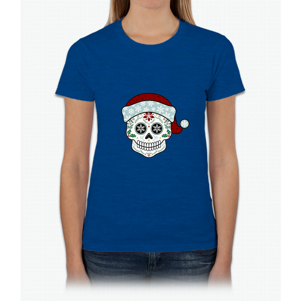 Sugar Skull Santa Merry Christmas Womens T-Shirt