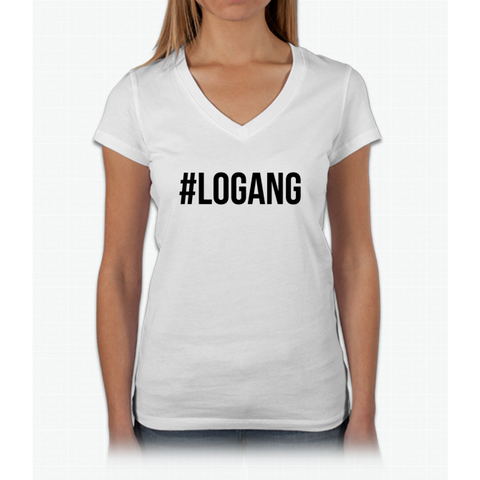 #logang - Black Font Womens V-Neck T-Shirt