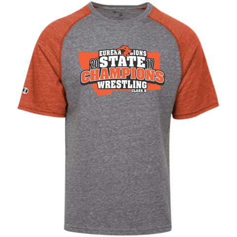 """2017 WRESTLING STATE CHAMPS"" Tri-blend Heathered Shirt"