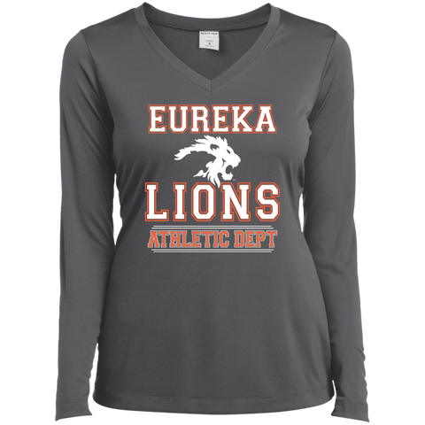 "2017 LIONS ""ATHLETIC DEPT - White"" Ladies Long Sleeve Performance V-Neck Tee"