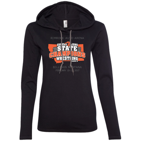 """2017 WRESTLING STATE CHAMPS"" - Ladies LS T-Shirt Hoodie"