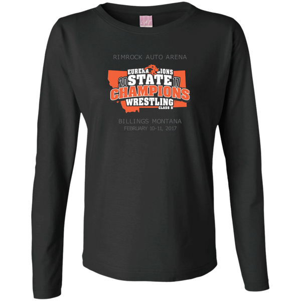 """2017 WRESTLING STATE CHAMP"" Ladies Long Sleeve Cotton TShirt"