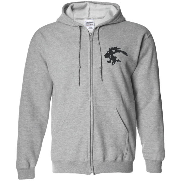 LIONS (Black) Embroidered Zip Up Hoodie
