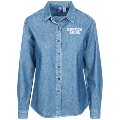 Ladies Embroidered Long Sleeve Denim Shirt