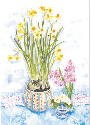 Narcissi and Pink Hyacinth
