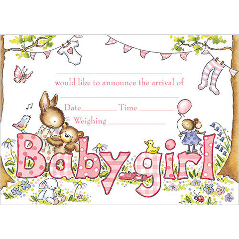 Baby Girl Arrival (Pack of 10 note cards)