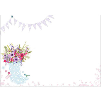 Blue Wellies and Flowers (Pack of 10 note cards)