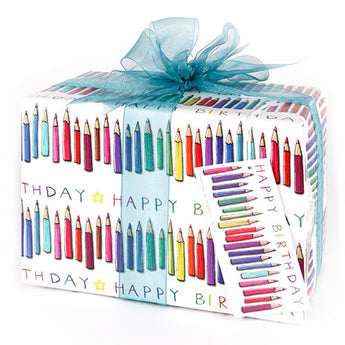 Happy Birthday Crayons (Folded) Gift Wrap