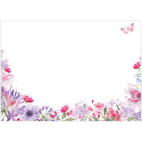 Pink and Purple Flowers (Pack of 10 note cards)