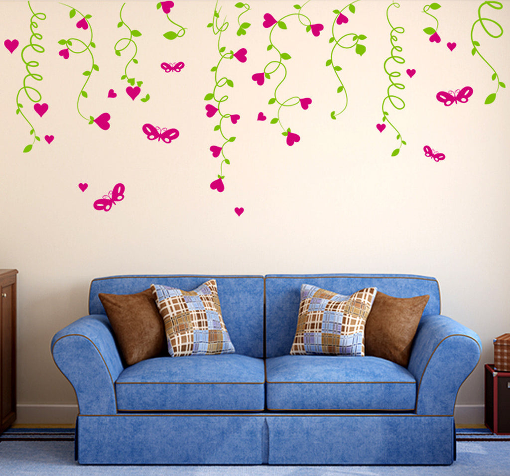 sofa background lovely hearts hanging from vines living room design wall stickers wall decals decalsdesignindia decalsdesignindia