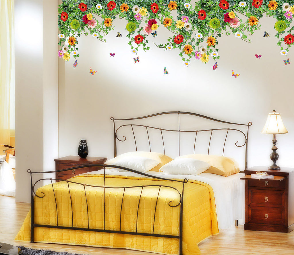 Surprising Bed Room Backdrop Hanging Realistic Daisy Flowers Falling From Ceiling Border Decoration Vinyl Home Interior And Landscaping Ologienasavecom