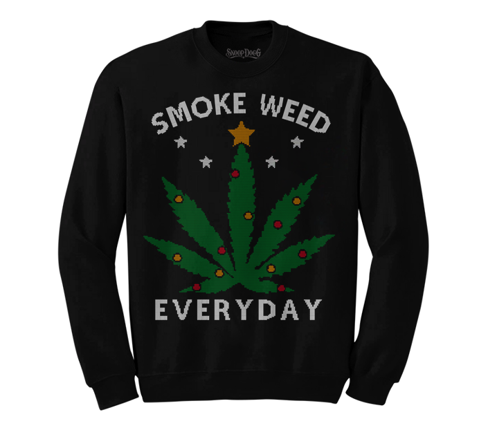 Smoke Weed Everyday Christmas Sweater (Black)
