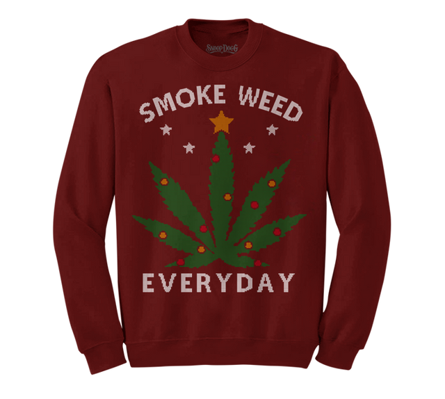 Smoke Weed Everyday Christmas Sweater (Burgundy)