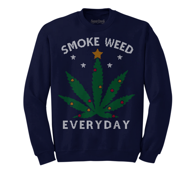 Smoke Weed Everyday Christmas Sweater (Navy)