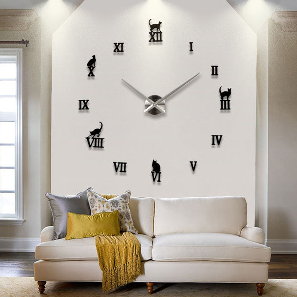3D Real Big Quartz Clocks Fashion Watches Wall Clock Kit Rushed Mirror Sticker DIY Living Room Decoration