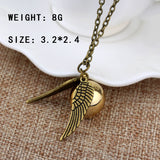 Harry Potter And The Deathly Hallows Necklace Gold Snitch Exquisite Ball Wings Necklaces for Women and Men