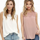 Hollow Out Solid Color Chiffon Vasado Women Tank Tops - 10DollarCart