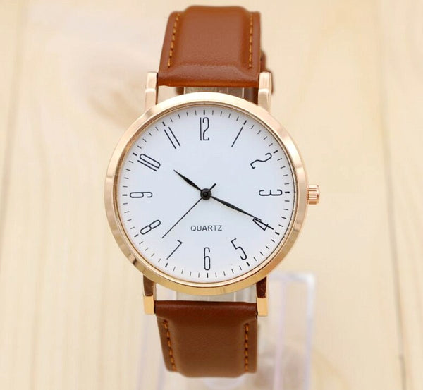 Leather Quartz Wrist Watch Casual Design For Men And Women