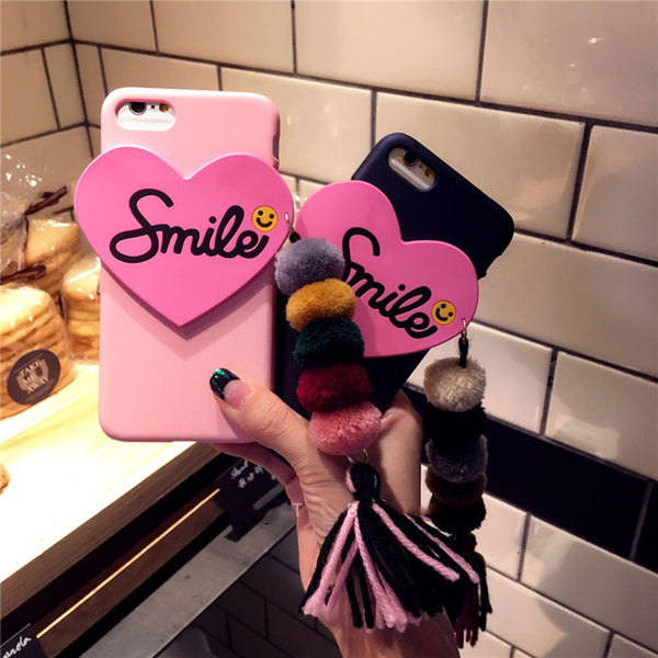3D Love Heart with Fur Ball Pendant iPhone case - 10DollarCart