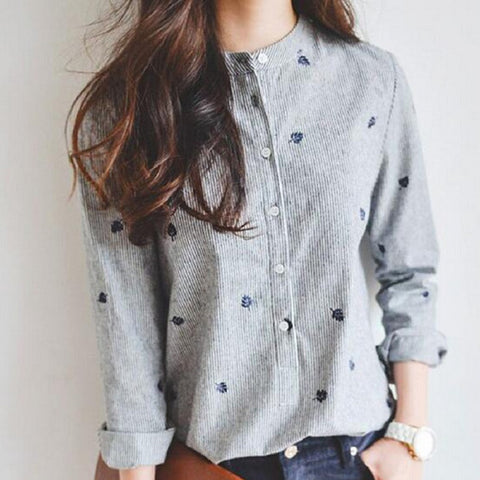 Autumn Leaves Embroidery Long Sleeve Women Casual Shirt Tops Striped - 10DollarCart