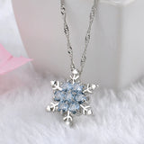 Charm Vintage Lady Blue Crystal Snowflake Zircon Flower Silver Pendant Necklace