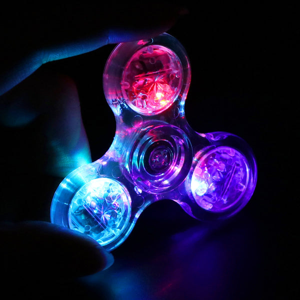 Crystal Fidget Spinner with LED Light For Kids Autism and Anxiety Stress