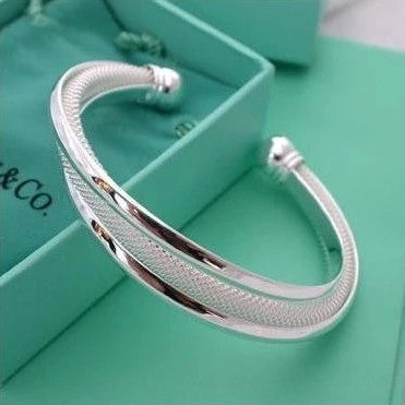 Elegant Silver Plated Bangles Cuff Bracelets