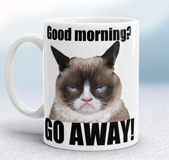 Funny Grumpy Cat White Ceramic Printed Coffee Mugs - 10DollarCart