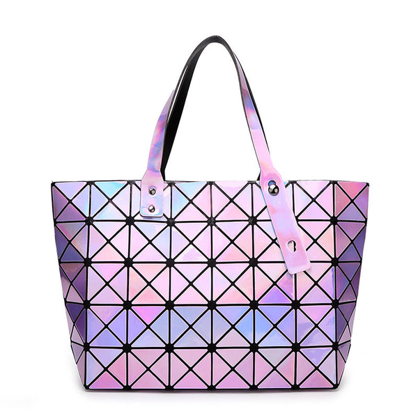 Female Laser BaoBao Plaid Tote Fold Over Handbags