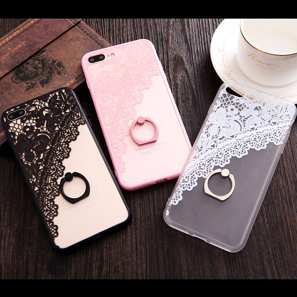 Beautiful Lace Flowers with Fashion Ring Holder Stand iPhone Case - 10DollarCart