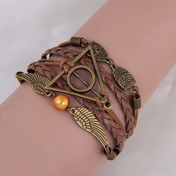 Harry Potter And Deathly Hallows Wings Multilayer Braided Leather Bracelet For Women And Girl