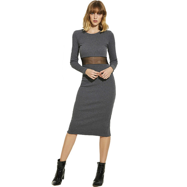 Long Sleeve Sexy Mid-Calf Solid Dress Girls