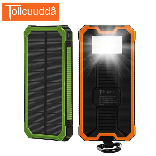 10000mAh Solar Power Bank For iPhone and Xiaomi Smartphones
