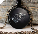 Game of Thrones House of Stark Black Wolf Pendant Necklace - 10DollarCart