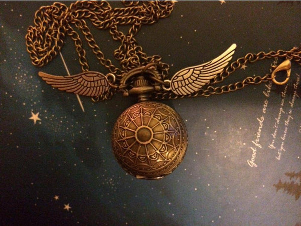 Harry Potter Elegant Golden Snitch Quartz Watch Necklace