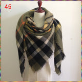 Winter Autumn Knit Oversize Blanket Tartan Plaid Stole Designer Women Acrylic Scarf