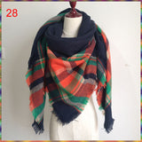 Winter Autumn Knit Oversize Blanket Tartan Plaid Stole Designer Women Acrylic Scarf - 10DollarCart