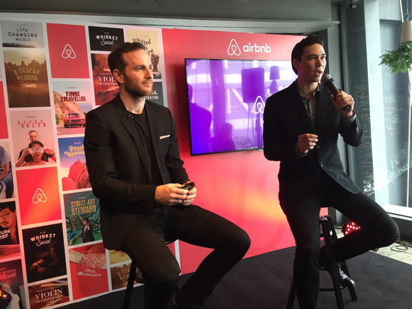 Joe Gebbia and Matthew Deane at an Airbnb press conference in Bangkok, Thailand.