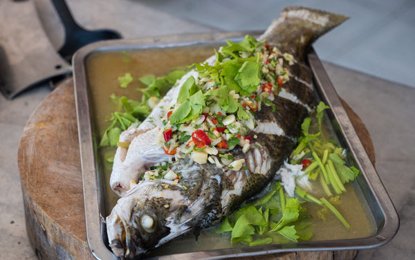 Blah Neung Manao or Steamed Fish with Lime