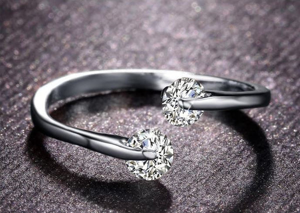 Platinum Twin CZ Engagement Ring