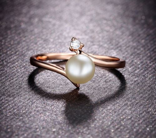 Rose Gold Pearl Rhinestone Ring