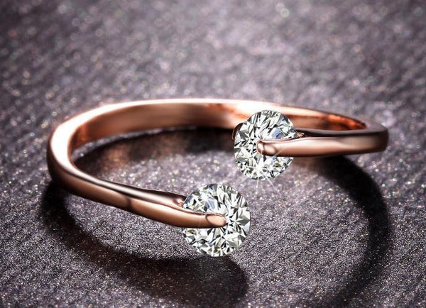 Rose Gold Twin CZ Engagement Ring